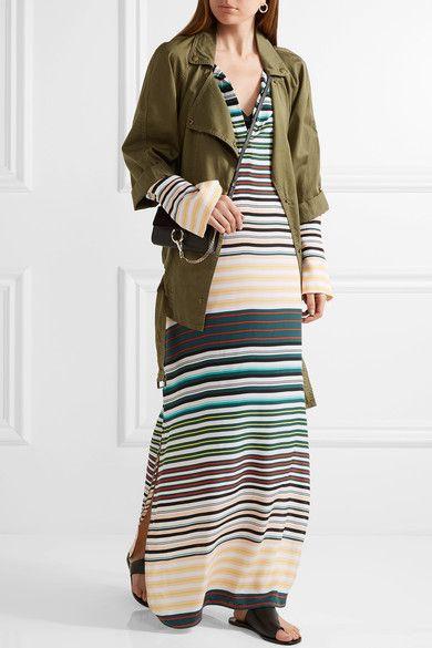 Equipment - Niko Striped Washed-silk Maxi Dress - Teal - medium