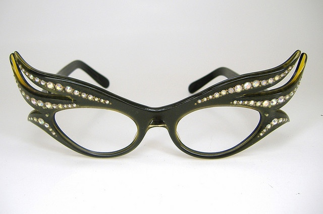 Rare vintage rhinestone olive green eyeglasses sunglasses frame