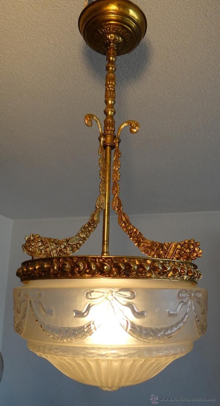Antigua lampara modernista de bronce laton y cristal - Lamparas cristal antiguas ...