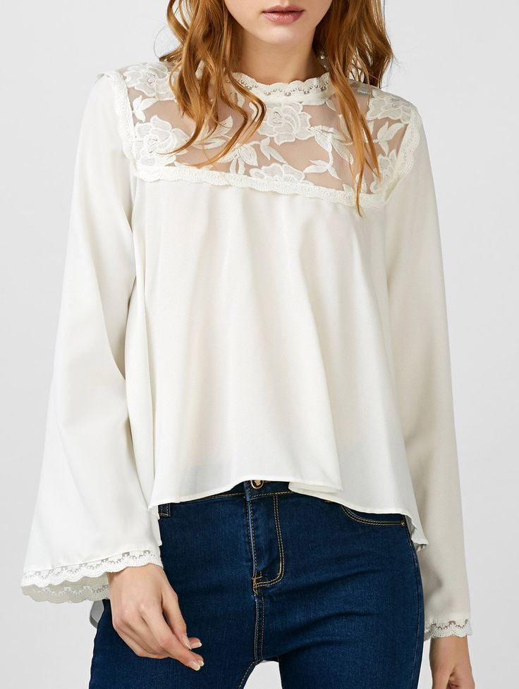 Lace Insert Asymmetrical Embroidered Blouse #CLICK! #clothing, #shoes, #jewelry, #women, #men, #hats, #watches