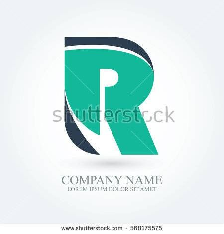 initial letter r creative circle logo typography design for brand and company identity. green and dark blue color