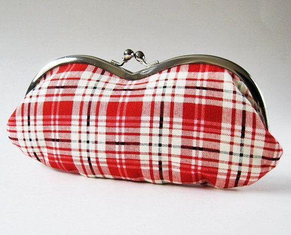 Eyeglass case - red white plaid