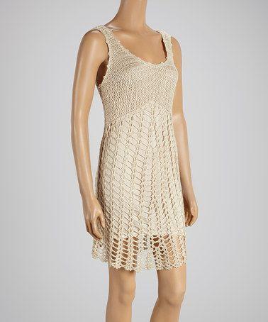 Look at this #zulilyfind! Beige Crochet Sleeve Dress #zulilyfinds