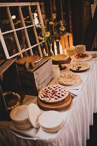 This Stunning, Rustic Wedding Serves Up Serious Inspo #refinery29  http://www.refinery29.com/100-layer-cake/9#slide19  By not getting a traditional wedding cake, and asking close friends to bake pies, they cut a big cost out.
