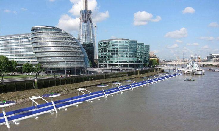 Schwimmender Radweg: Architekt Norman Foster hat eine Rennstrecke für Radler auf der Themse vorgeschlagen. Mautpflichtig, wegen der Kosten.