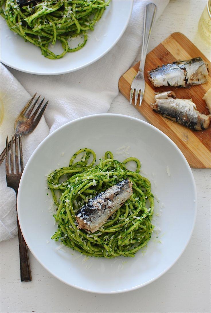Blue apron bucatini - Bucatini Pasta With Kale Pesto And Sardines Bev Cooks