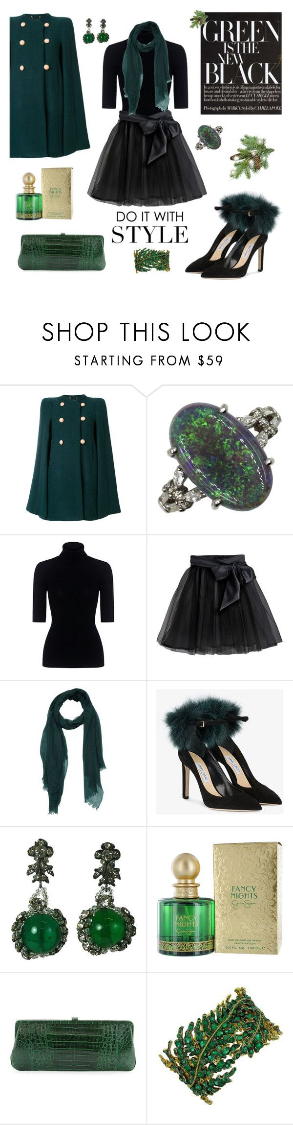 """""""EverGREEN Forest"""" by closet-freak ❤ liked on Polyvore featuring Chloé, Theory, Little Wardrobe London, Jimmy Choo, Louis Rousselet, Jessica Simpson, Nancy Gonzalez, Christmas, GREEN and greencoat"""
