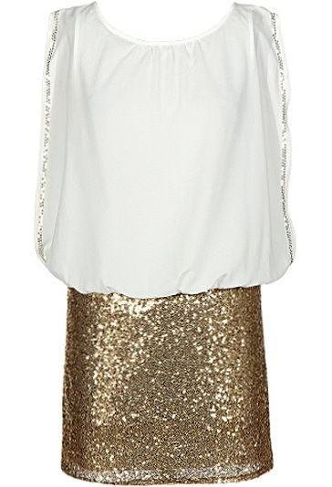 Bubbly Party Dress: Features an exaggerated sleeveless design with sparkling silver trim highlighting the edges, keyhole closure at nape, and a glittering gold sequin skirt to finish.