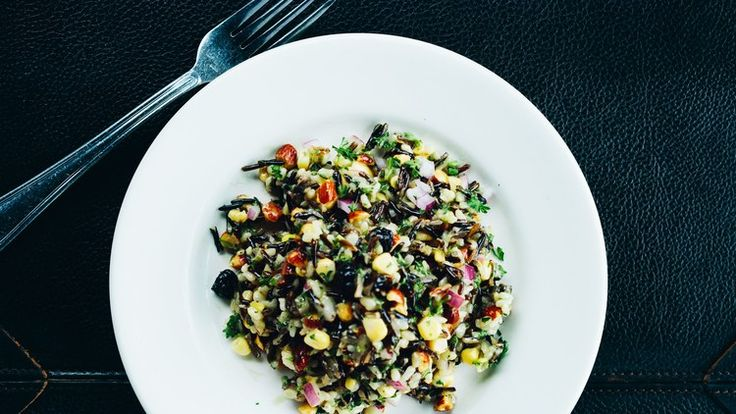 Wild Rice Salad with Corn, Blueberries, and Almonds Recipe | Bon Appetit
