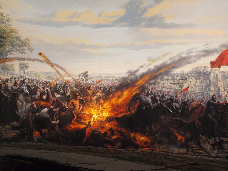 Byzantine Greek Fire during the Siege of Constantinople