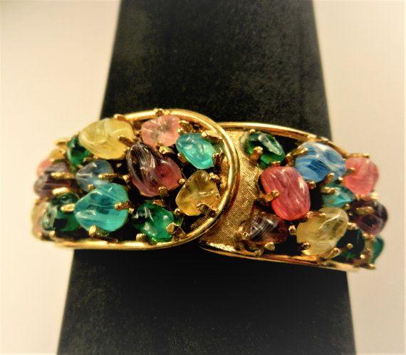 Art Glass Pastel Tones Bejeweled Watch Bracelet in by RAKcreations
