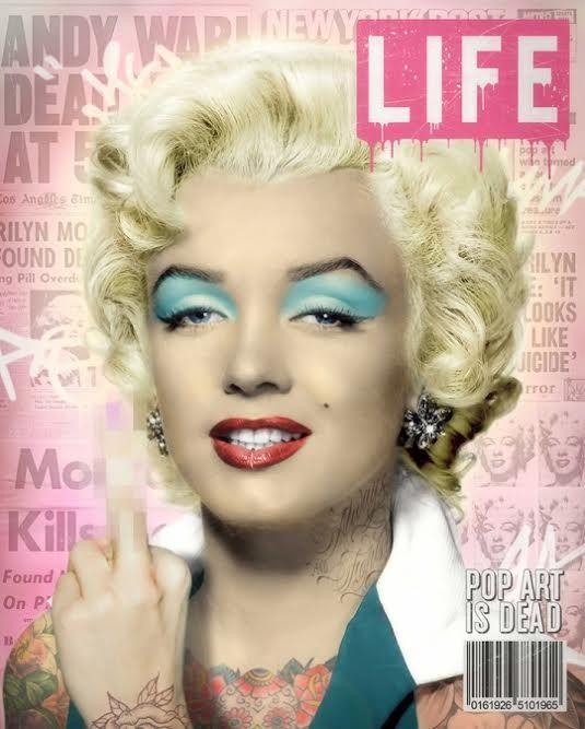 Warhols Marilyn by JJ Adams #art #artist #JJAdams #marilynmonroe #marilyn #blonde #joedimaggio #mrpresident #happybirthday #andywarhol #Life #magazine #covergirl #cover #blueeyeshadow #redlips #lipstick
