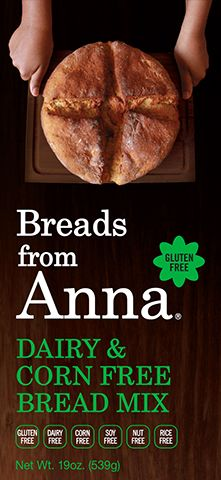 Breads From Anna - Dairy & Corn Free Bread Mix. Gluten-Free. Dairy-Free. Corn-Free. Soy-Free. Nut-Free. Rice-Free. GMO-Free.