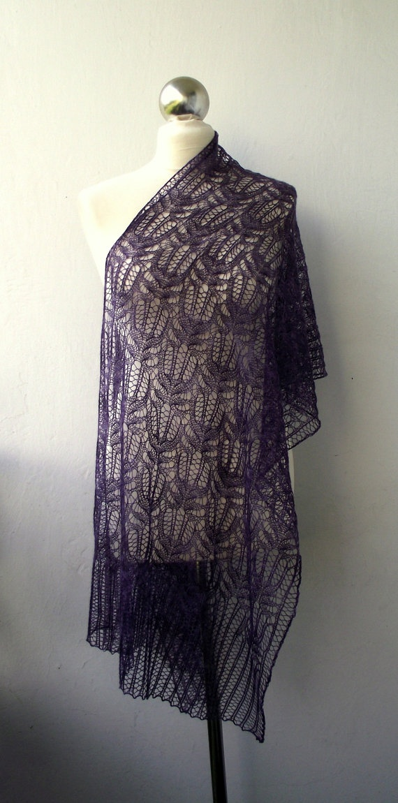 violet hand-knitted stole..