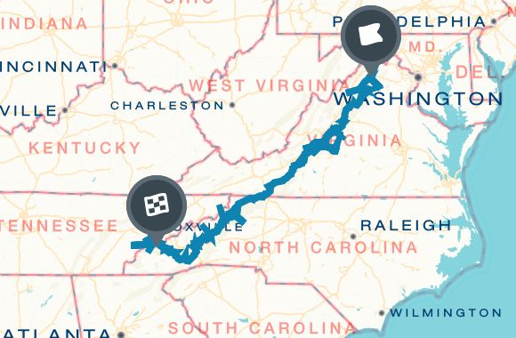 Road Trip along the Blue Ridge Parkway in a Week Map