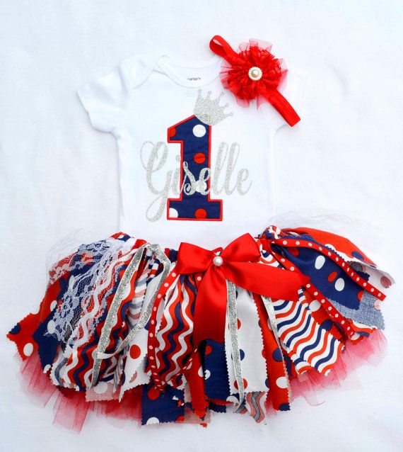 Baby girl first birthday outfit,Patriotic Outfit,4th of July outfit girl,first birthday,Shabby chic tutu,Birthday banner,girls Cake smash