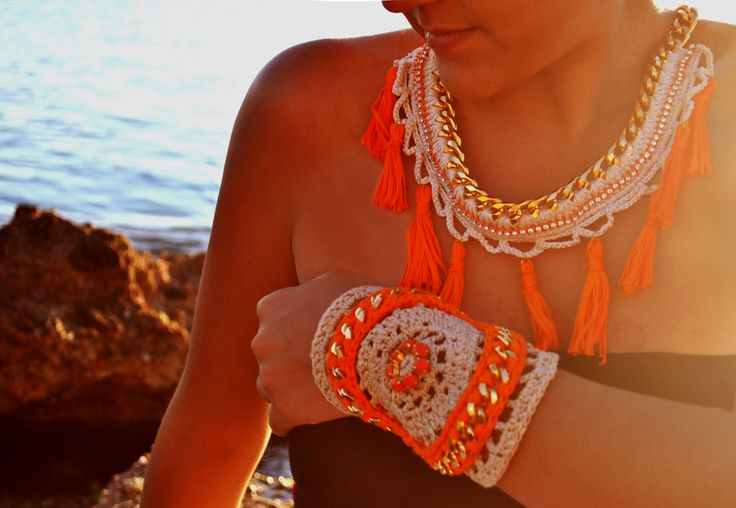 crochet necklace &  bracelet  by WED.LAB