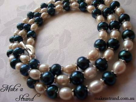 This extra long teal & white pearl necklace was created in the corporate colours of the Women's Cancer Foundation, a charity that raises fund especially for ovarian cancer (donated)