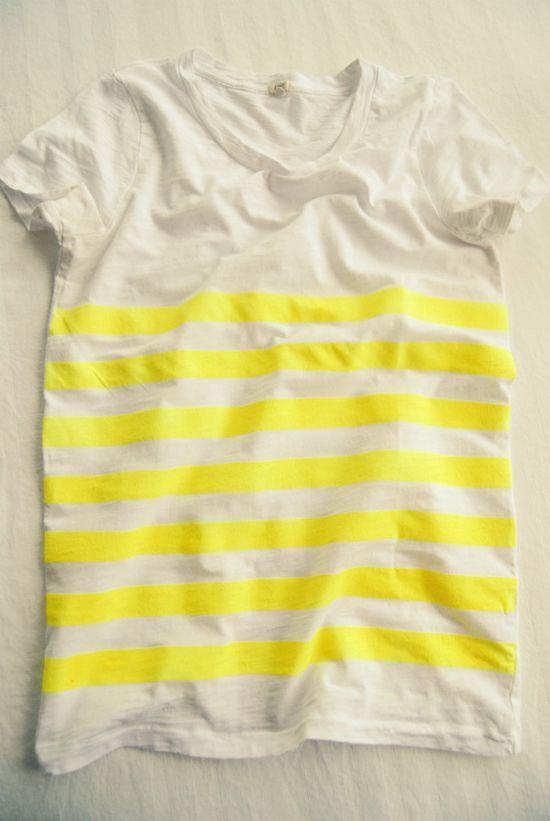 DIY neon yellow striped t-shirt: Neon Stripes, Diy Stripes, Diy Neon, Stripes Shirts, Diy Clothing, Stripes T Shirts, Stripes Tees, Yellow Birds, Neon Yellow