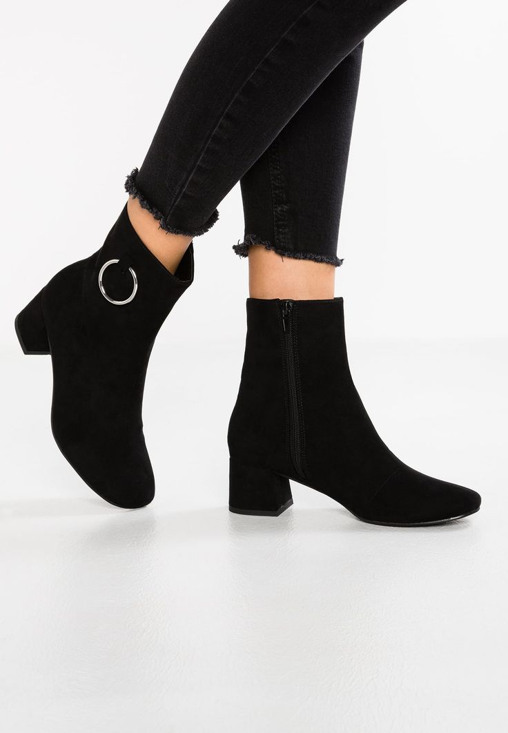 PUBLIC DESIRE ankle heeled bootie detailed with metal ring... Black
