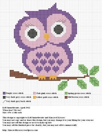cute purple owl to stitch ~ free pattern