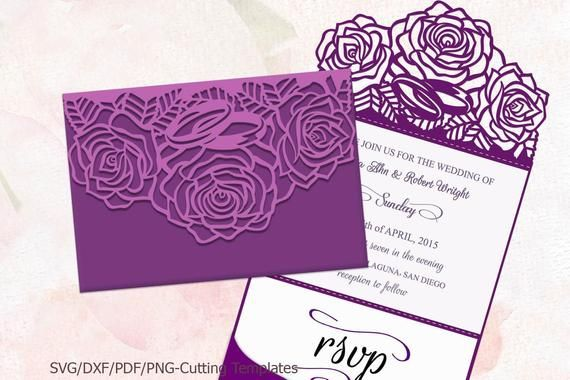 trifold wedding invitation  svg file  roses invitation svg