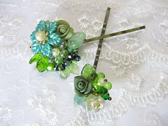 長さ 約 5.5 cm緑の花でまとめた、ヘアピンのセットですプレゼントなどにもいかかでしょうかこちらは再販はいたしませんご質問がございましたらお気軽にどうぞお...|ハンドメイド、手作り、手仕事品の通販・販売・購入ならCreema。