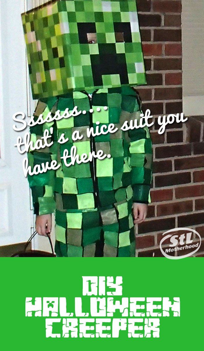DIY Minecraft Creeper costume that's comfortable to wear--don't stick your kid in a box this Halloween!