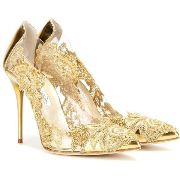 Oscar de la Renta Alyssa Embellished Transparent Pumps ($1,180) ❤ liked on Polyvore featuring shoes, pumps, heels, high heels, sapatos, gold, gold heel pumps, gold shoes, transparent heel shoes and gold pumps