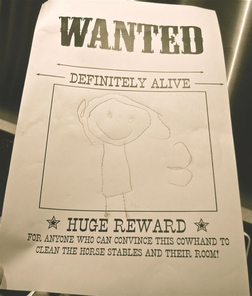 wanted poster for kids. So doing this for the kids at Elly's party! I better get back to that craft store today! yippee!!