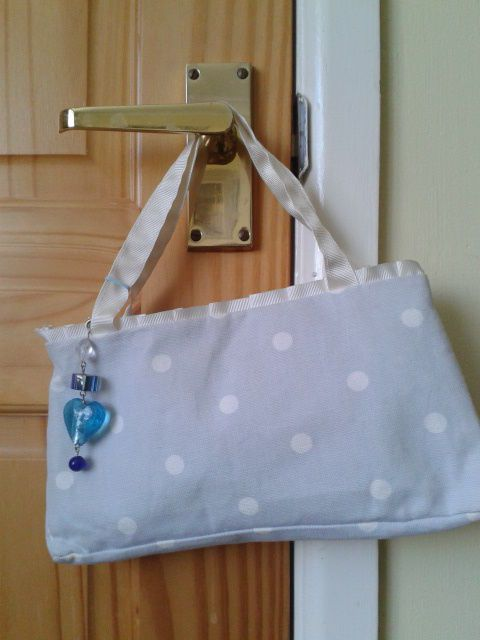 HANDMADE CATH KIDSON FABRIC PALE BLUE BAGUETTE WITH CHARM