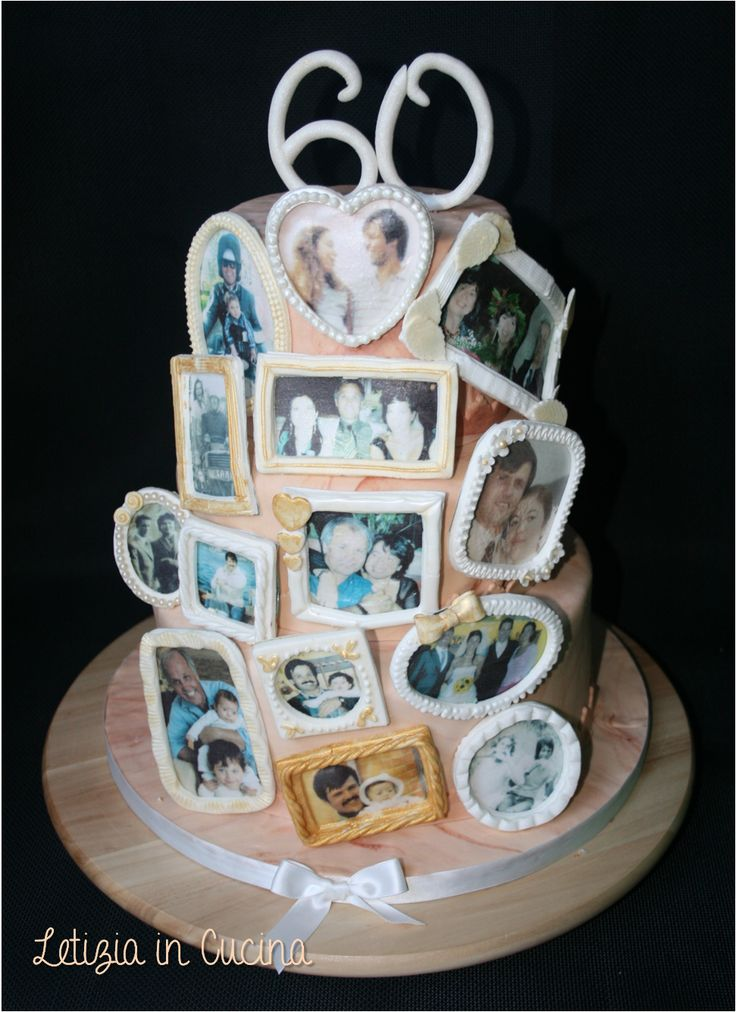 Torta 60° compleanno - 60th birthday cake - Photoframe cake