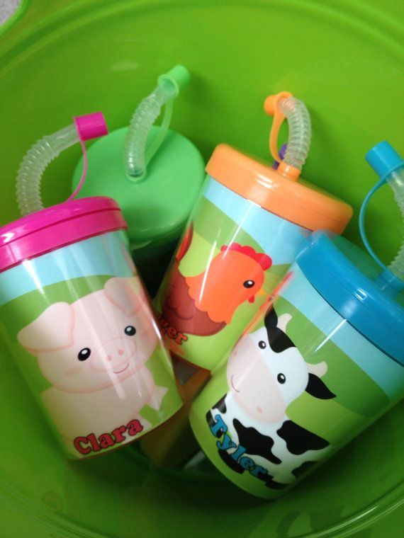 Farm Animals Birthday Party Favor Cups Set by ReadySetPersonalize, $15.99