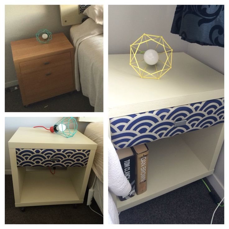 I had a bit of left-over paint and fabric so I decided to turn a couple of old office side-drawers into matching bedside tables. The front panel of the draw is upholstered. #DIY #upcycle #recycle