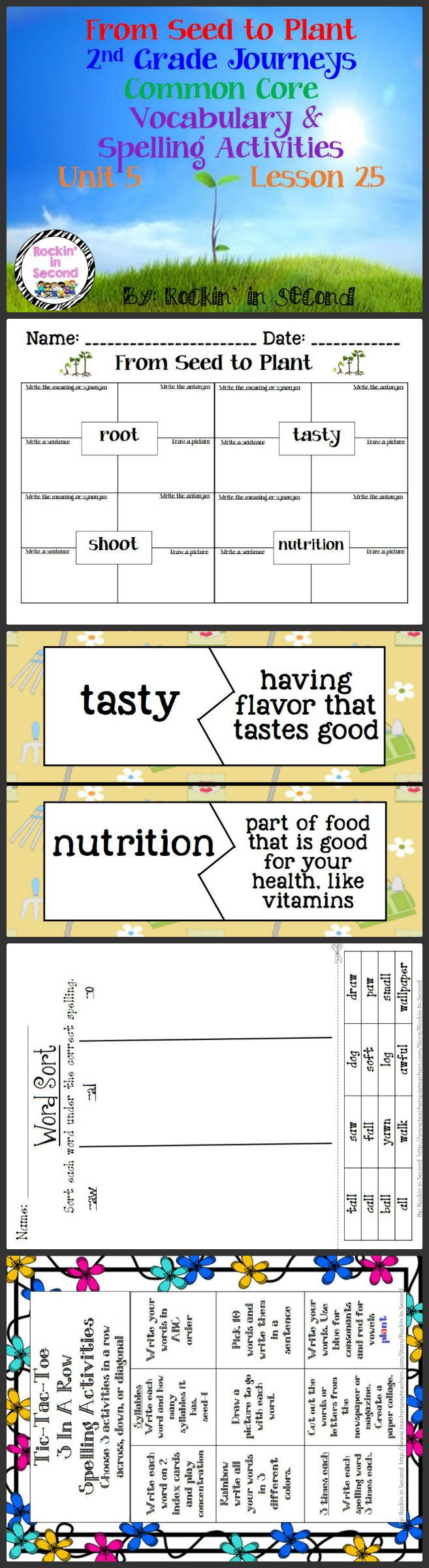 Journeys From Seed to Plant Lesson 25 Spelling & Vocab. Activities  In this bundle you will receive Vocabulary Puzzles, Vocabulary 4 square sheets, Spelling lists for student's agendas, Tic-Tac-Toe spelling activity, Spelling Sort, and Rainbow Write spelling paper.  These all are aligned with Common Core and goes along with Journeys.