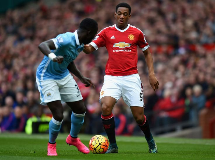 October 25th 2015:  Action from Old Trafford as Man United and Man City drew 0-0 for the first time in the Premier League since 2010, as Antony Martial takes on Bacary Sagna