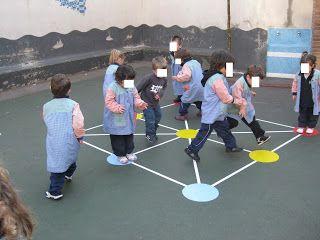 Diferents jocs pintats al terra del pati