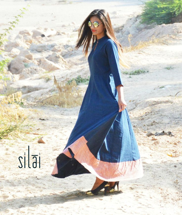 Indigo kalidaar with red dots border by Silai | The Secret Label