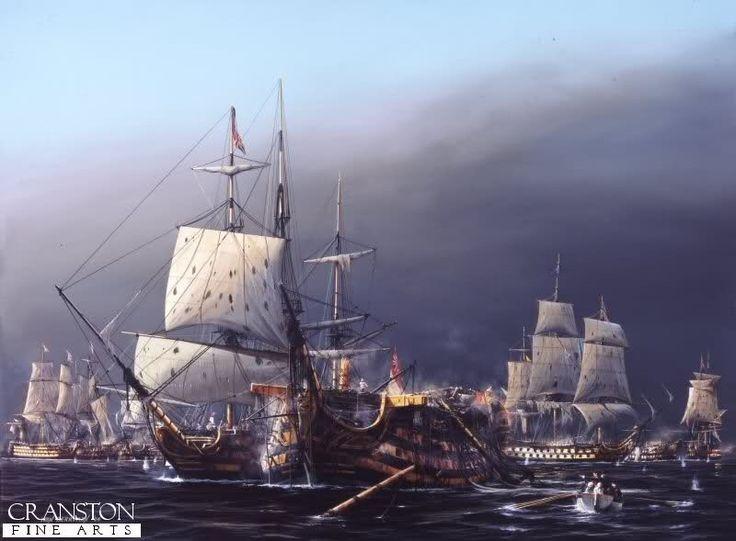Primer plano el Santísima Trinidad bajo el ataque de la nave británica Neptuno durante la batalla de Trafalgar 1805