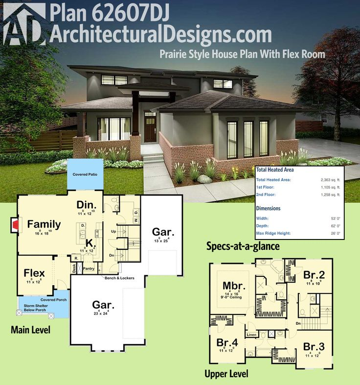 Architectural Designs House Plan 62607DJ is a Prairie-inspired design that gives you 4 beds and over 2,300 square feet of heated living space. Ready when you are. Where do YOU want to build?
