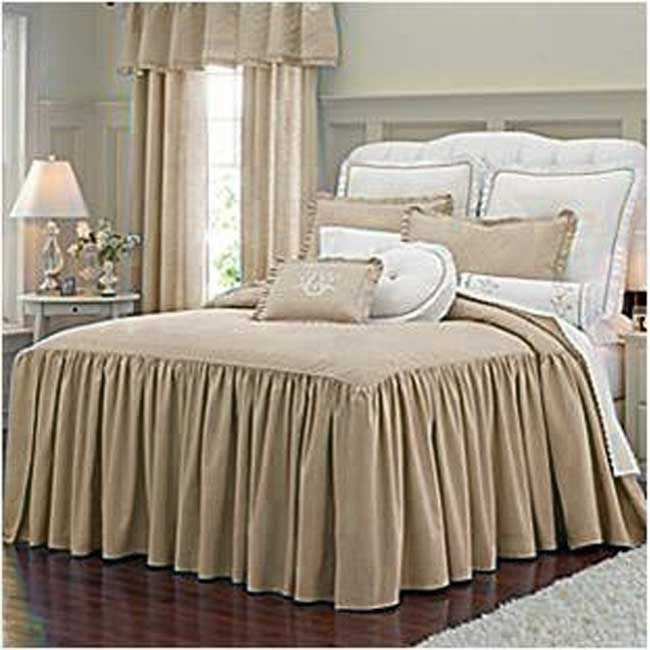 Ilana Linen 3 Piece Bedspread Set Swirl Pattern Bed Skirts And Bedspread