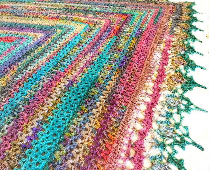 The V-stitch being blockedthese little shawls have become an amazing addiction #bhooked #colorlove #oneofakindyarns #crochetaddict #crochetshawl #naturalyarn #handdyedyarns #madeinsouthafrica #ilovecolor #instacrochet #hekle_inspo #hækle #häkeln #heklesjal #ganchillo #uncinetto #örgü #crochetcurator #crochetcreations #creativecrochet #vintagestyle #virka #vstitch #virkkaus #virkning #crochetastherapy #craftastherapy by plasie3