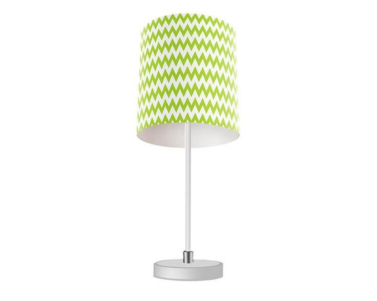 Chrome Green Chevron Table Lamp