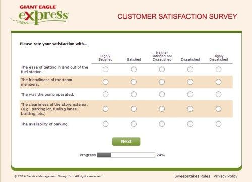 Giant Eagle Express Guest Satisfaction Survey, wwwgexpresslistens - customer satisfaction survey