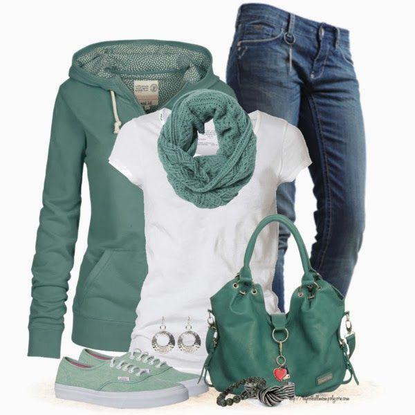 Casual OutfitCasual Style, Fashion Ideas, Hoodie, Clothing, Colors, Green, Jeans, Casual Outfits, Sneakers