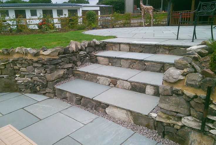 Steel Blue Limestone Flagstones | Landscaping | Patio | Traditional | Hand cut traditional paving | Garden Creations
