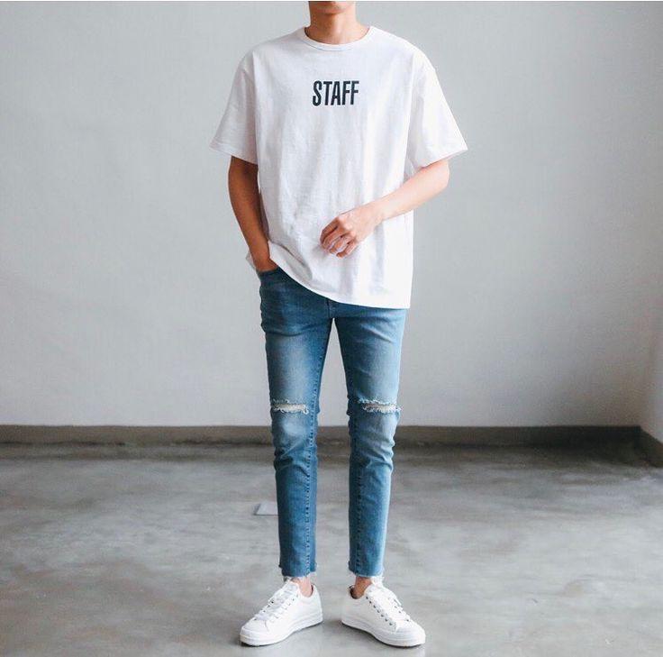 Basic street style. White tshirt, jeans, sneaker.