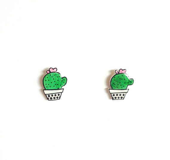 Cactus Stud Earrings Shrink Plastic Cute Succulents.