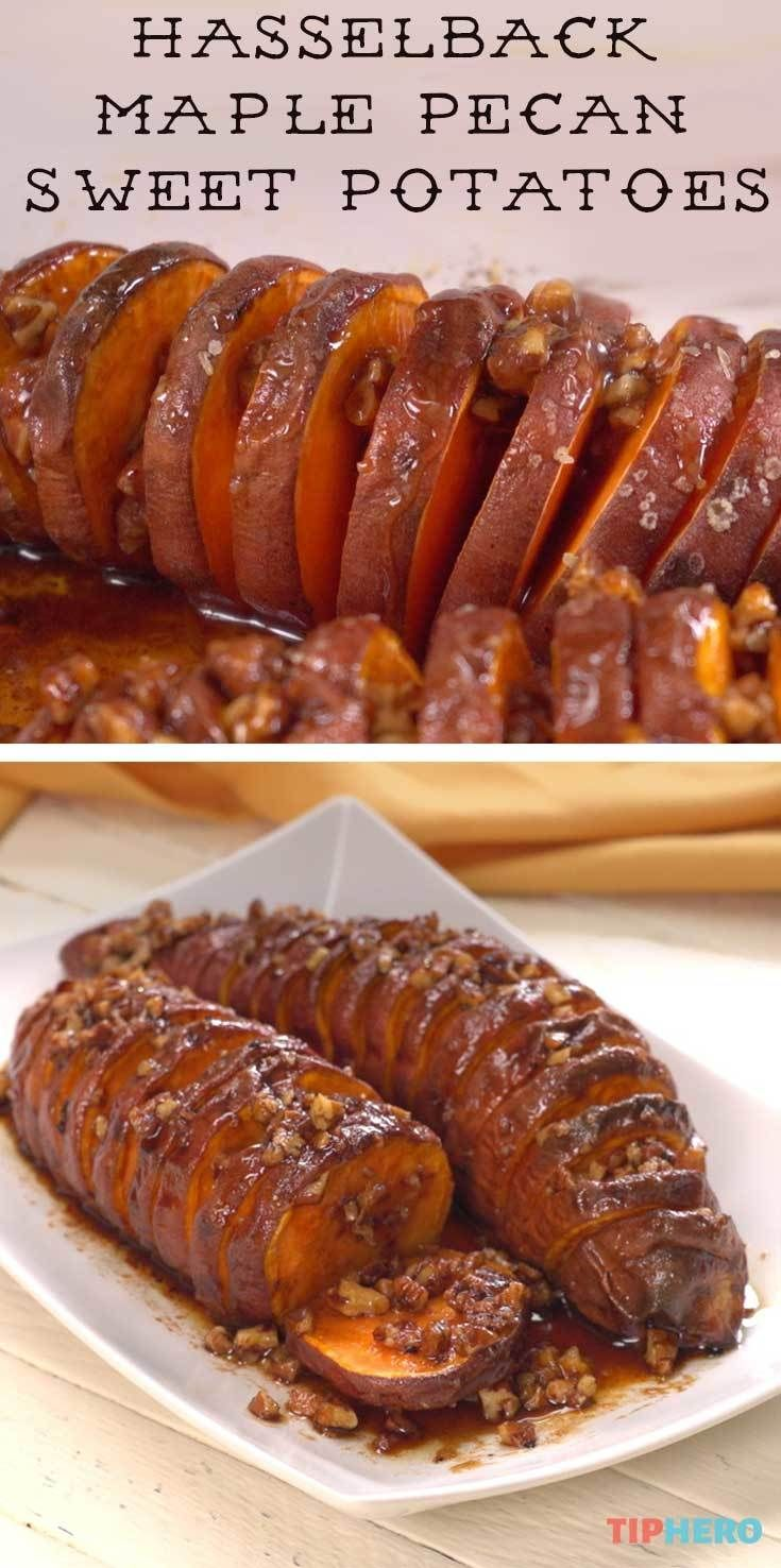 Hasselback Maple Pecan Sweet Potatoes - recipe + video - via Tip Hero  #fallrecipes #recipes #yum