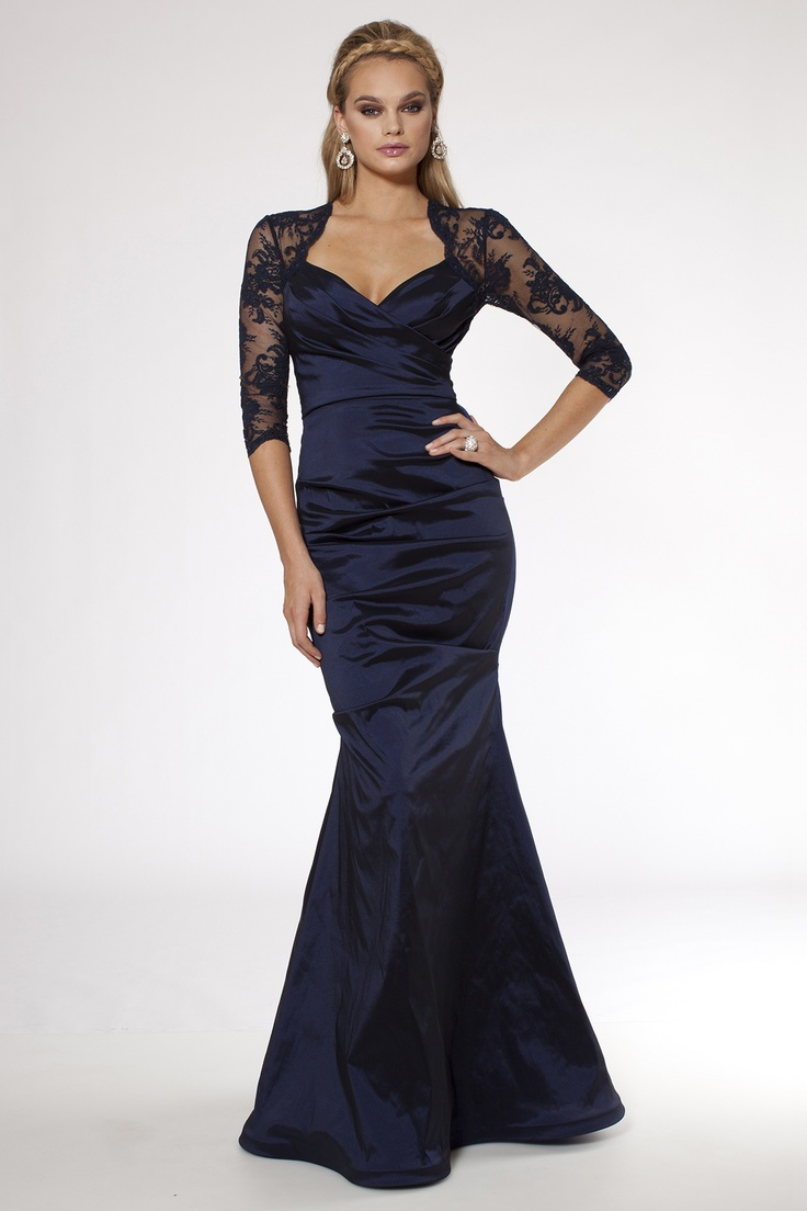 navy scallopped maid of honor dress